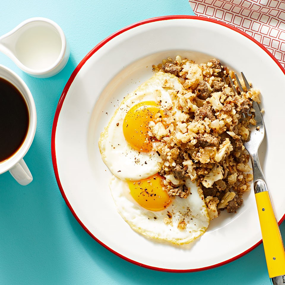 Cauliflower Hash with Sausage & Eggs