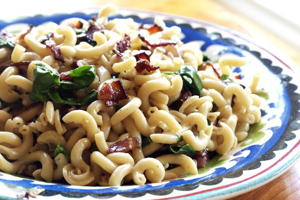 Fusilli with Chard, Bacon, and Red Onions