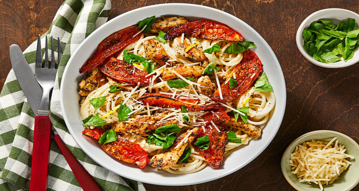 Creamy Parmesan Chicken Spaghetti with Roasted Tomatoes and Basil