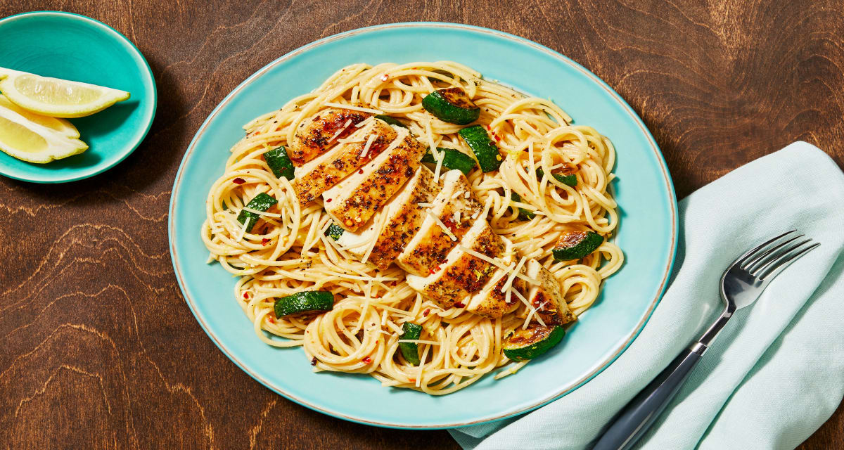 Italian Chicken over Lemony Spaghetti with Zucchini and Chili Flakes