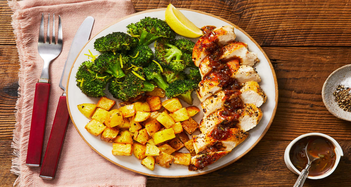 Balsamic Fig Chicken with Roasted Potatoes and Lemony Broccoli