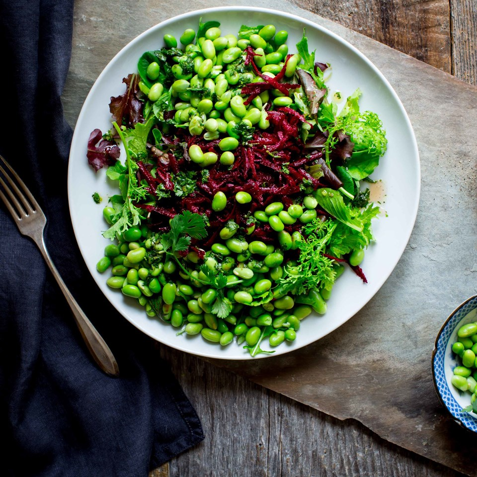Green Salad with Edamame & Beets