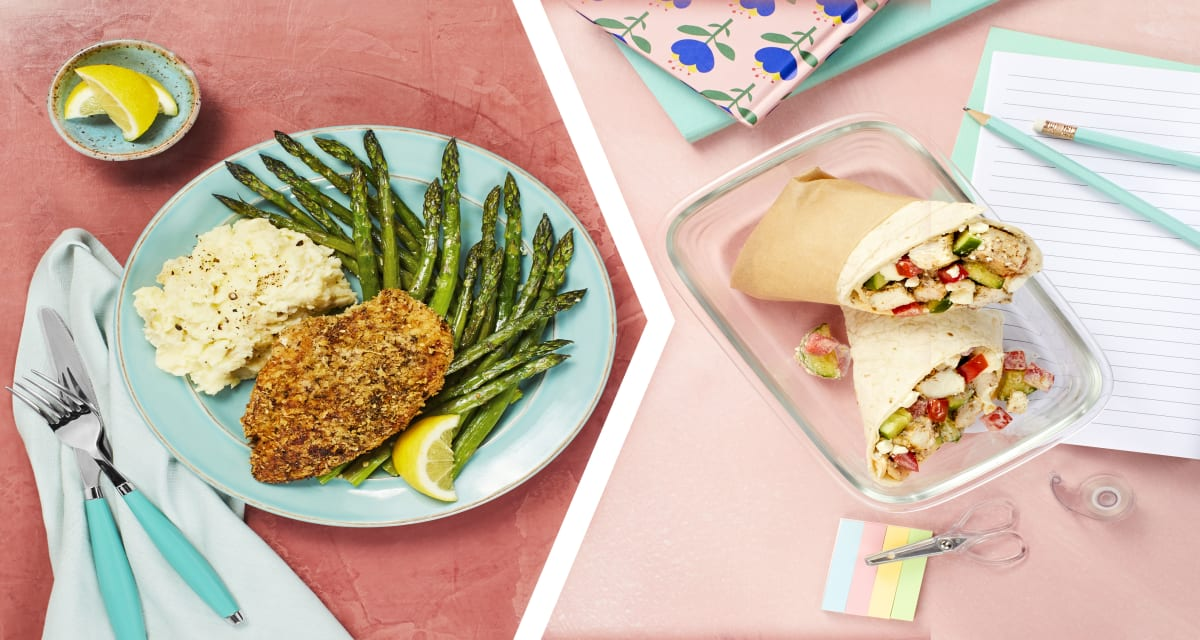Crispy Za'atar Chicken for Dinner with a Mediterranean Wrap for Lunch