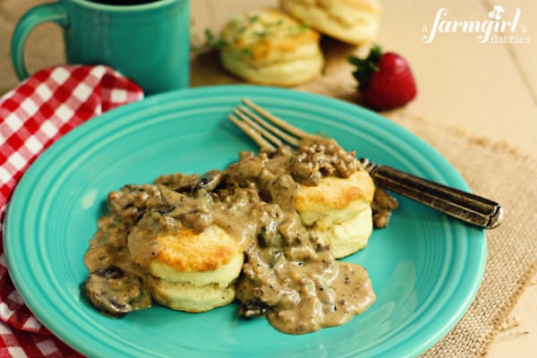 Cream Biscuits with Sausage and Mushroom Gravy